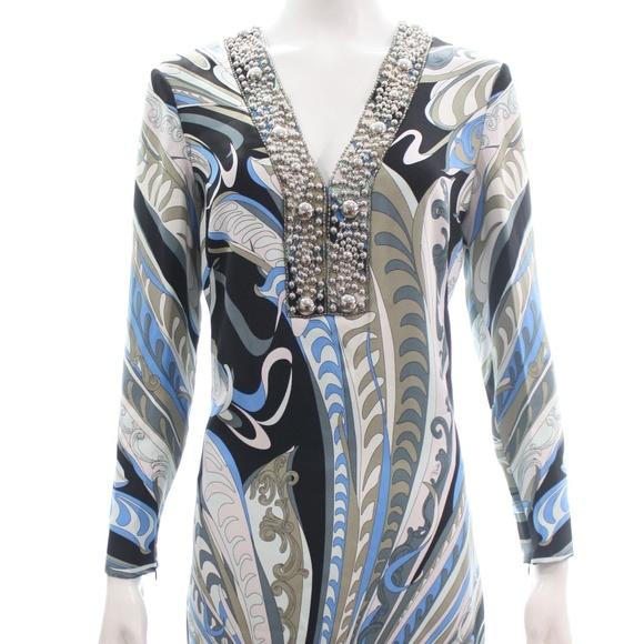 Emilio Pucci Dresses & Skirts - EMILIO PUCCI LONG SLEEVED V-NECK PRINT DRESS 8